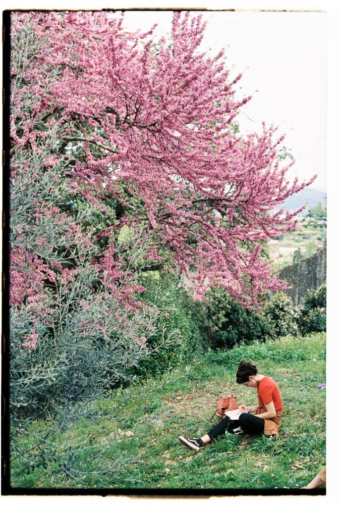 vrouw tekent onder bloesemboom in florence, Italië